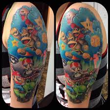 nintendo themed tattoo done by chris tyler at big country tattoos