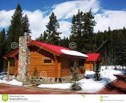 rustic cabin with red roof stock image image 6032651
