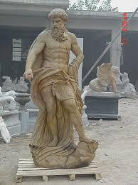 elegant statue in marble of the greek god zeus