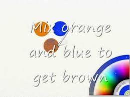 paint together will make orange while blue and yellow mixed
