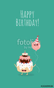 happy birthday card funny birthday cake with pink balloons vector