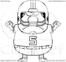 cartoon clipart of a black and white angry chubby football player