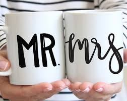 bridal gift mr and mrs mugs mr and mrs engagement gift handlettered