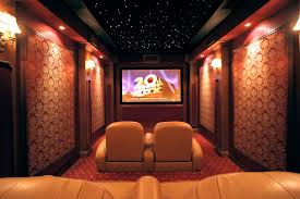 Home Theater Ceiling Lighting Luxurious Small Home Theater With Decorative Wallpaper And Vibrant