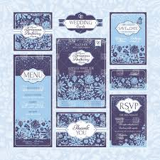 Wedding Invitation Cards Download Free Blue Vintage Floral Wedding Invitation Cards Vector Image 37688