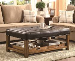 Leather And Wood Coffee Table Beautiful Leather Ottoman Coffee Table Furniture Brown Medium