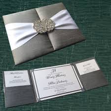 wedding pocket invitations silk pocket box invitation with crystal buckle clasp inside 3