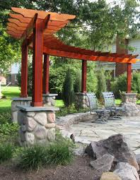 Stone Patio Designs Pictures by Patio Ideas Rough Sawn Timber Pergola Stone Piers Rock Retaining
