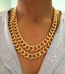 chain link necklace chunky images Chunky double gold chain link necklace by worldoftashii on etsy jpg