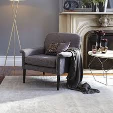 Chenille Armchair Anders Armchair Slate Chenille Tweed West Elm Office