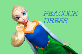 frozen elsa barbie play doh ball gown prom dress peacock dance