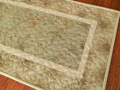 modern quilted table runner ombre squares table mat verdigris