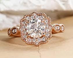 moissanite vintage engagement rings unique engagement ring gold vintage cluster moissanite