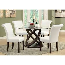 round dining sets monarch olympic ring dark espresso glass top round dining table