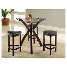 Dining Room Tables Set Mibasics 4pc Triangular Counter Dining Table Set Wood Espresso