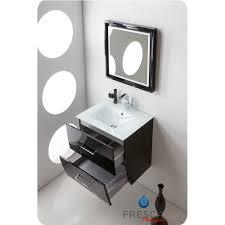 wave 24 inch glossy black modern bathroom vanity wall mounted