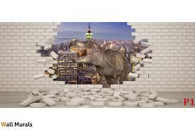 murals 3d effect broken brick wall and dinosaur wall murals 3d effect broken brick wall and dinosaur