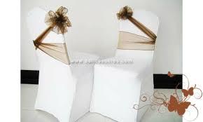 couvre chaise mariage ruban noeud pour housse de chaise de mariage tissu organza couleur