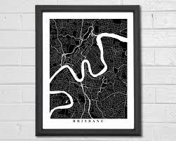 Home Decor Brisbane Brisbane Map Art Map Print Black And White City Map Art