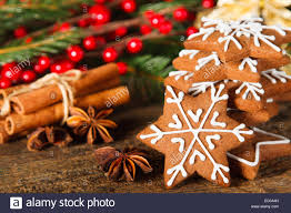 christmas composition gingerbread cookie anise and cinnamon on