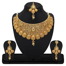 gold jewellery necklace sets images Buy reeva gold plated combo of 3 necklace earring set for women jpg