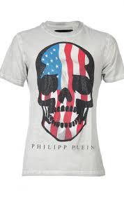 American Flag Skull Philipp Plein Skull American Flag T Shirt Oil White Boudi Uk