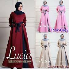 gaun muslim baju muslim terbaru lucia dress grosir baju muslim pakaian
