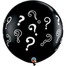 gender reveal balloons qualatex gender reveal question marks 3ft onyx black