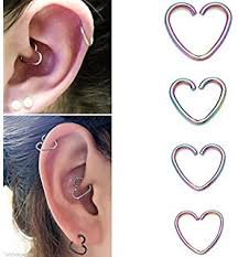 heart cartilage daith hearts cartilage piercing rings three hoops