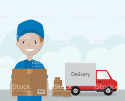 box car clipart cartoon delivery man in blue uniform carrying box stock vector art