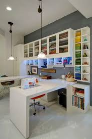 2201 best craft rooms images on pinterest craft rooms home and an all white design provides a blank slate in this custom sewing station allowing your
