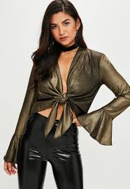 metallic blouse gold metallic tie front flare sleeve blouse missguided