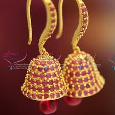 fancy jhumka earrings e0477 gold plated ruby stones fancy bell shape hook type jhumka
