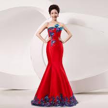 sequin blue floral strapless silk satin red bridal wedding dress