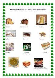 english worksheets what do italians eat and drink at christmas