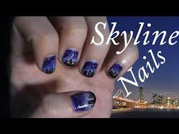 skyline nails using acrylic paint nail art tutorial step by step