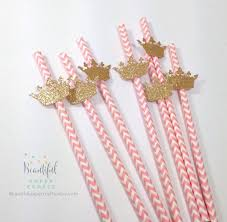 25 royal gold crown straws pink and gold princess