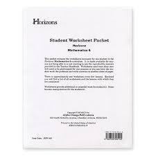 aop homeschooling horizons 6th grade math student worksheet packet