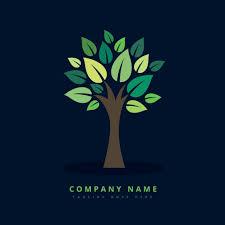 creative eco green tree logo vector free download
