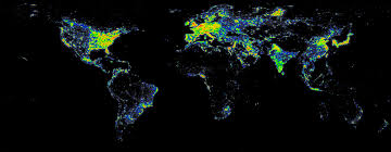 Google Map Of The World by Light Pollution Map Of The World World Maps Pinterest Light