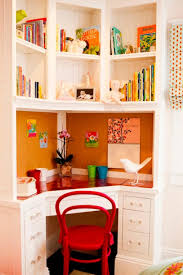 best fascinating red chair facing white corner desk in kids corner