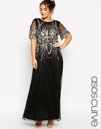 asos curve plus size gold and navy sparkle mesh skater evening