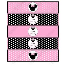 minnie mouse light pink printable water bottle labels