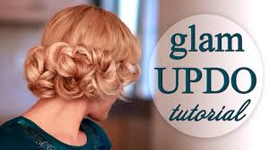 curly updo hairstyle for wedding party prom faux bob for long