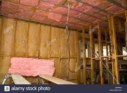 Insulation In Ceiling by Fiberglass Insulation In Walls And Ceiling Of A New Home Under
