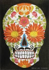 sugar skull flower needlepoint joint