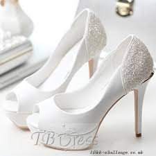 Wedding Shoes Peep Toe High Heels Peep Toe Pu Crystal Bridal Wedding Shoes White Pu