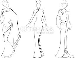 sketch of women in traditional asian dresses vector art thinkstock