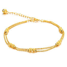 price bracelet images Women 39 s anklet bracelet 18k gold plated double row jpg