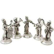 set of five sterling silver musical quintet table
